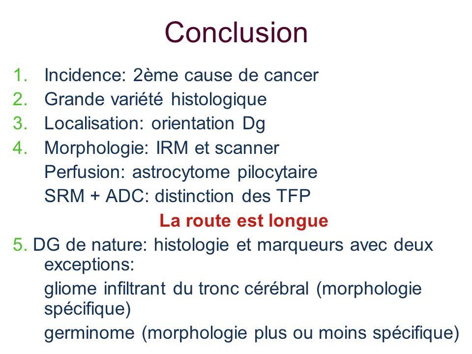 Conclusion 1.Incidence: 2ème cause de cancer 2.Grande variété histologique 3.Localisation: orientation Dg 4.Morphologie: IRM et scanner Perfusion: ast