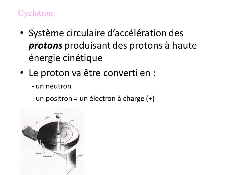 Système circulaire daccélération des protons produisant des protons à haute énergie cinétique Le proton va être converti en : - un neutron - un positr