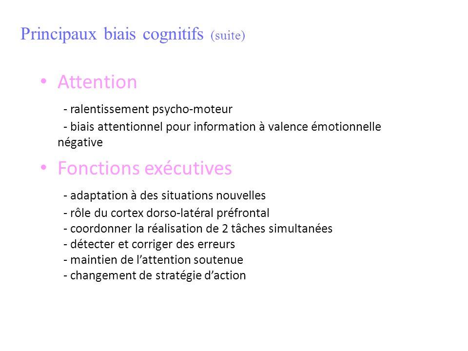 Attention - ralentissement psycho-moteur - biais attentionnel pour information à valence émotionnelle négative Fonctions exécutives - adaptation à des