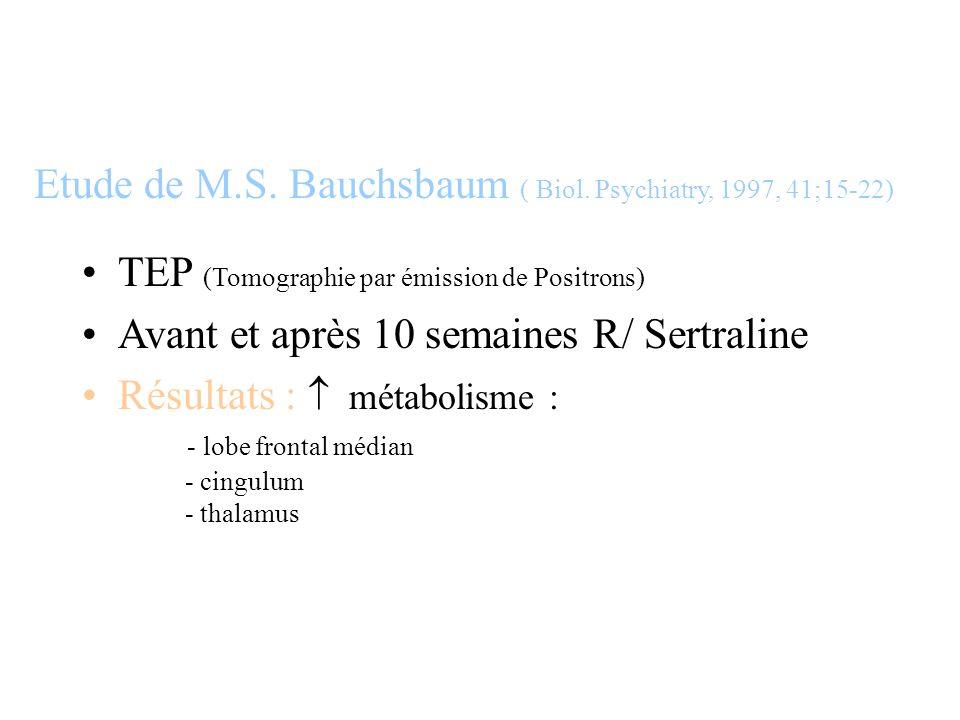 TEP (Tomographie par émission de Positrons) Avant et après 10 semaines R/ Sertraline Résultats : métabolisme : - lobe frontal médian - cingulum - thal