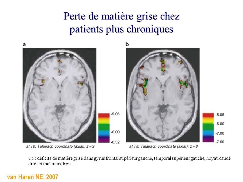 Perte de matière grise chez patients plus chroniques van Haren NE, 2007 T5 : déficits de matière grise dans gyrus frontal supérieur gauche, temporal s