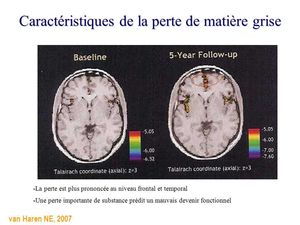 Caractéristiques de la perte de matière grise -La perte est plus prononcée au niveau frontal et temporal -Une perte importante de substance prédit un
