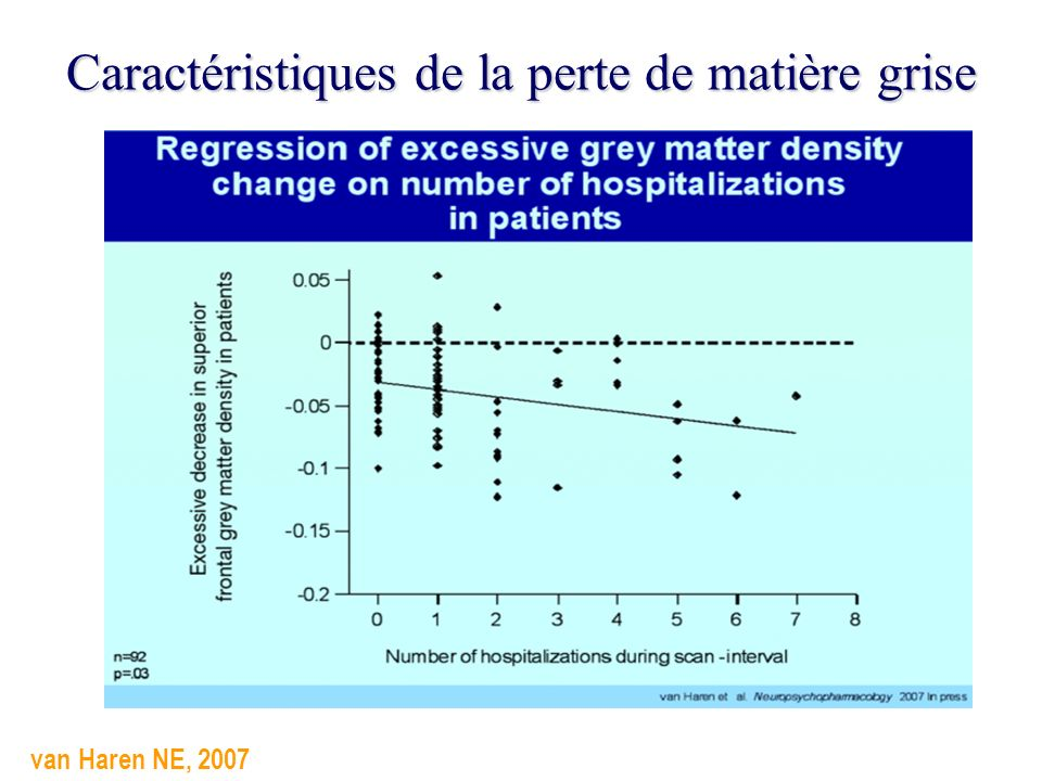 Caractéristiques de la perte de matière grise van Haren NE, 2007