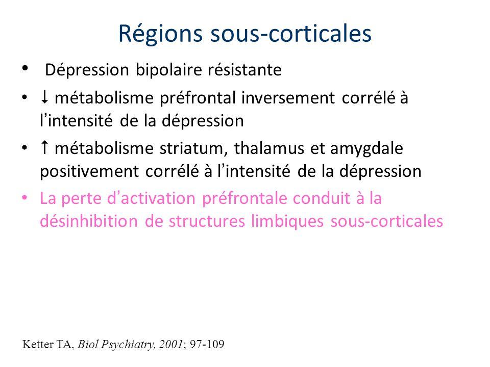 Dépression bipolaire résistante métabolisme préfrontal inversement corrélé à l intensité de la dépression métabolisme striatum, thalamus et amygdale p