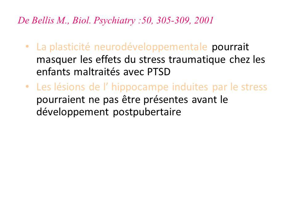 La plasticité neurodéveloppementale pourrait masquer les effets du stress traumatique chez les enfants maltraités avec PTSD Les lésions de l hippocamp