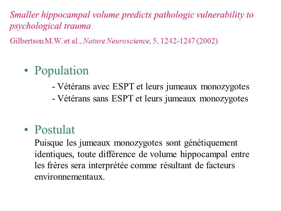 Population - Vétérans avec ESPT et leurs jumeaux monozygotes - Vétérans sans ESPT et leurs jumeaux monozygotes Postulat Puisque les jumeaux monozygote
