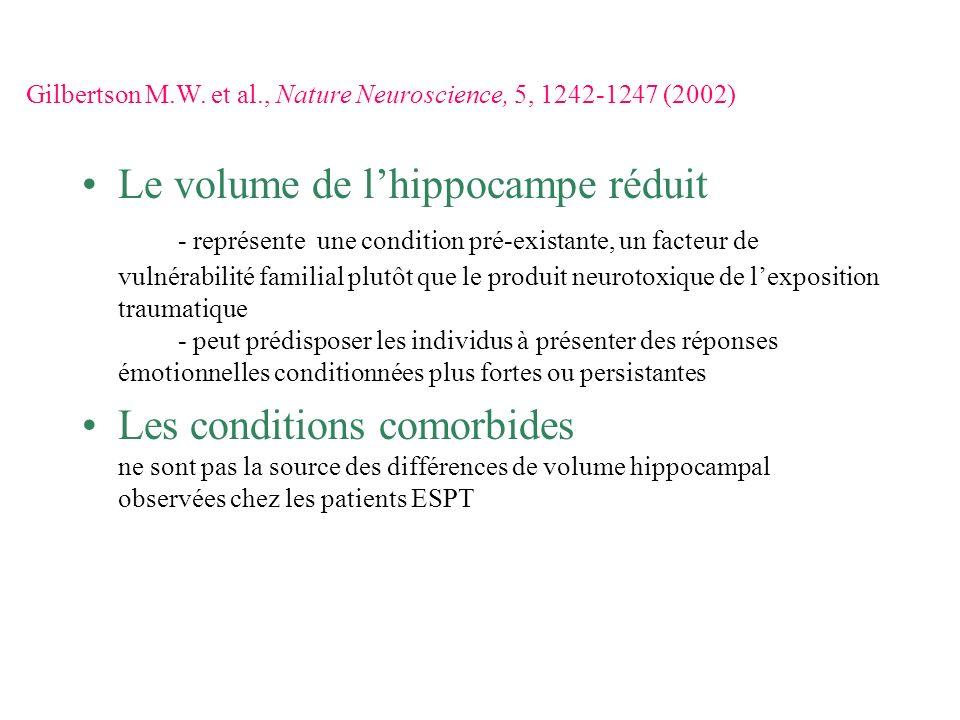 Le volume de lhippocampe réduit - représente une condition pré-existante, un facteur de vulnérabilité familial plutôt que le produit neurotoxique de l