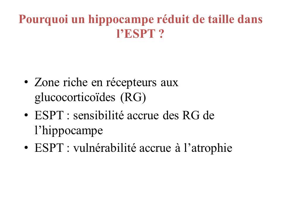 Pourquoi un hippocampe réduit de taille dans lESPT ? Zone riche en récepteurs aux glucocorticoïdes (RG) ESPT : sensibilité accrue des RG de lhippocamp