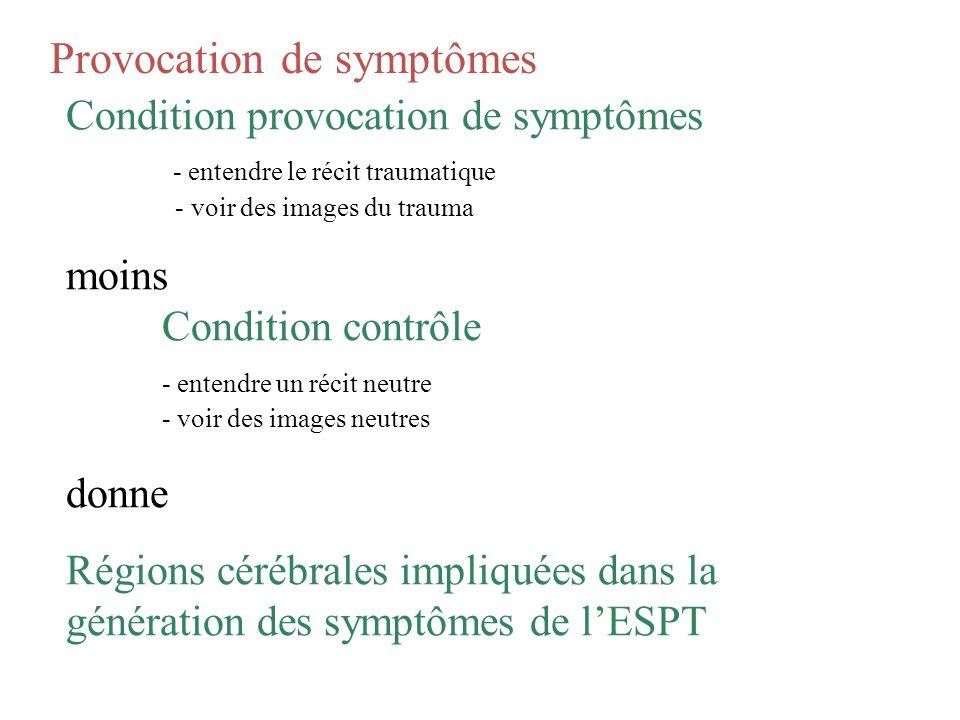 Provocation de symptômes Condition provocation de symptômes - entendre le récit traumatique - voir des images du trauma moins Condition contrôle - ent