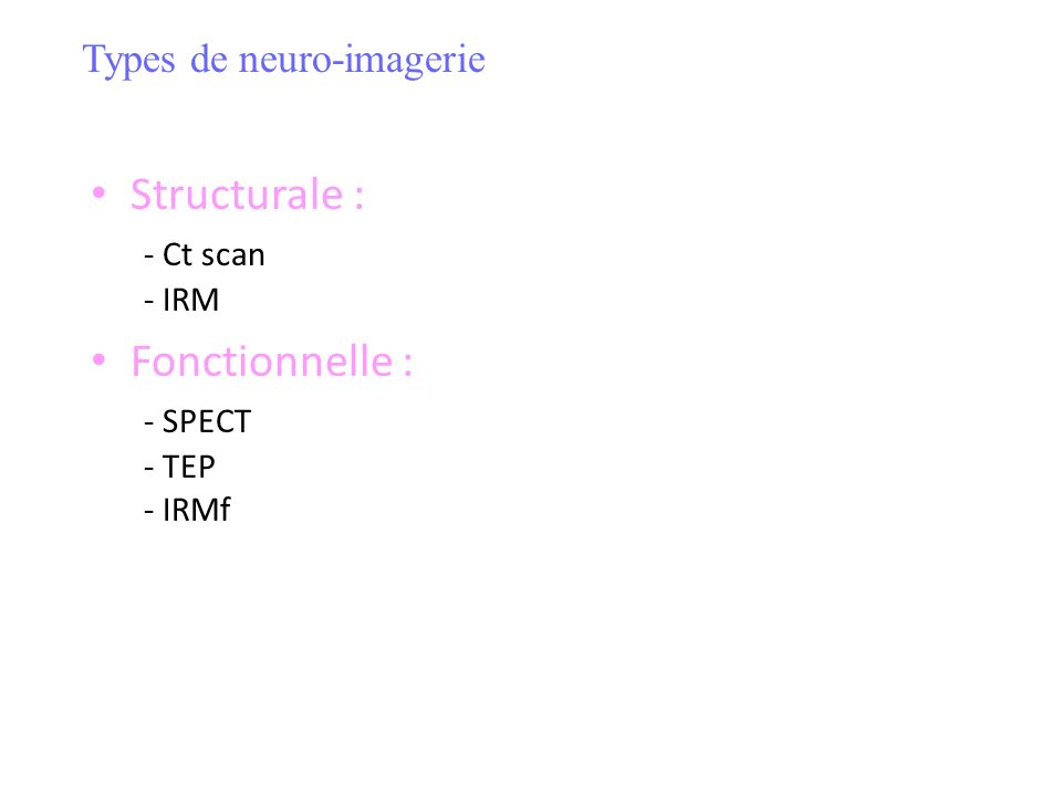 Structurale : - Ct scan - IRM Fonctionnelle : - SPECT - TEP - IRMf Types de neuro-imagerie