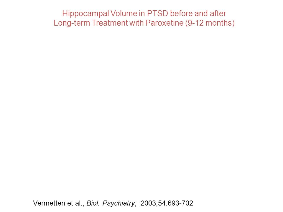 Hippocampal Volume in PTSD before and after Long-term Treatment with Paroxetine (9-12 months) Vermetten et al., Biol. Psychiatry, 2003;54:693-702