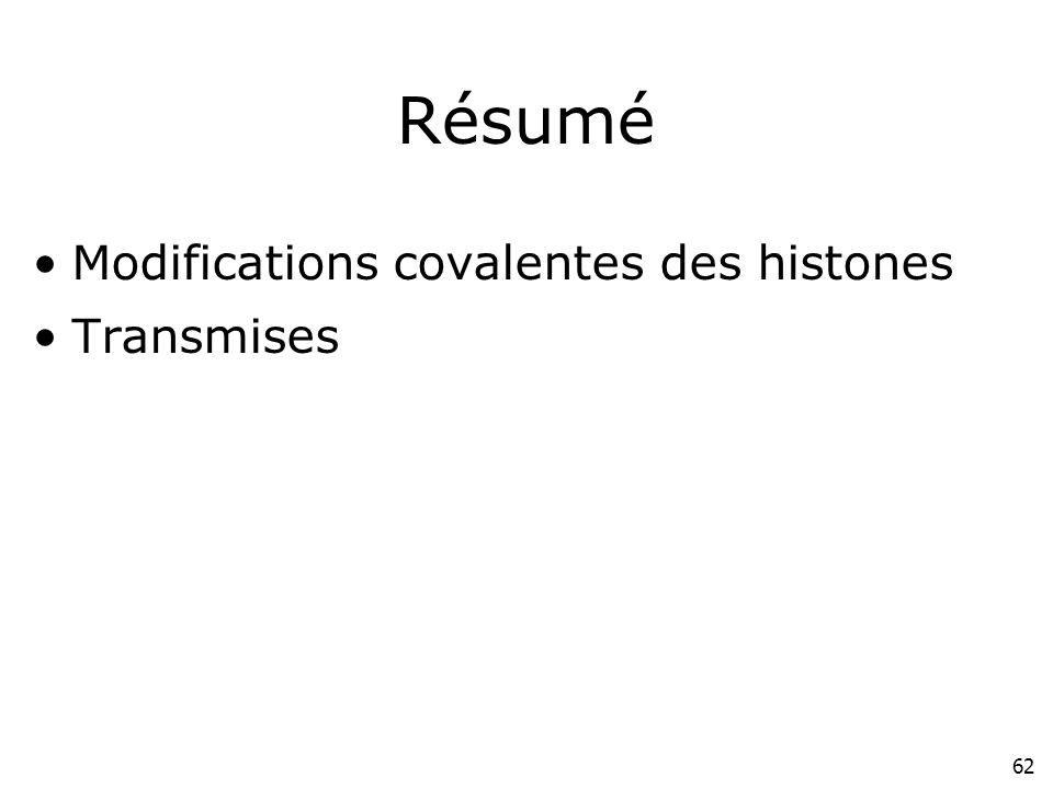 62 Résumé Modifications covalentes des histones Transmises