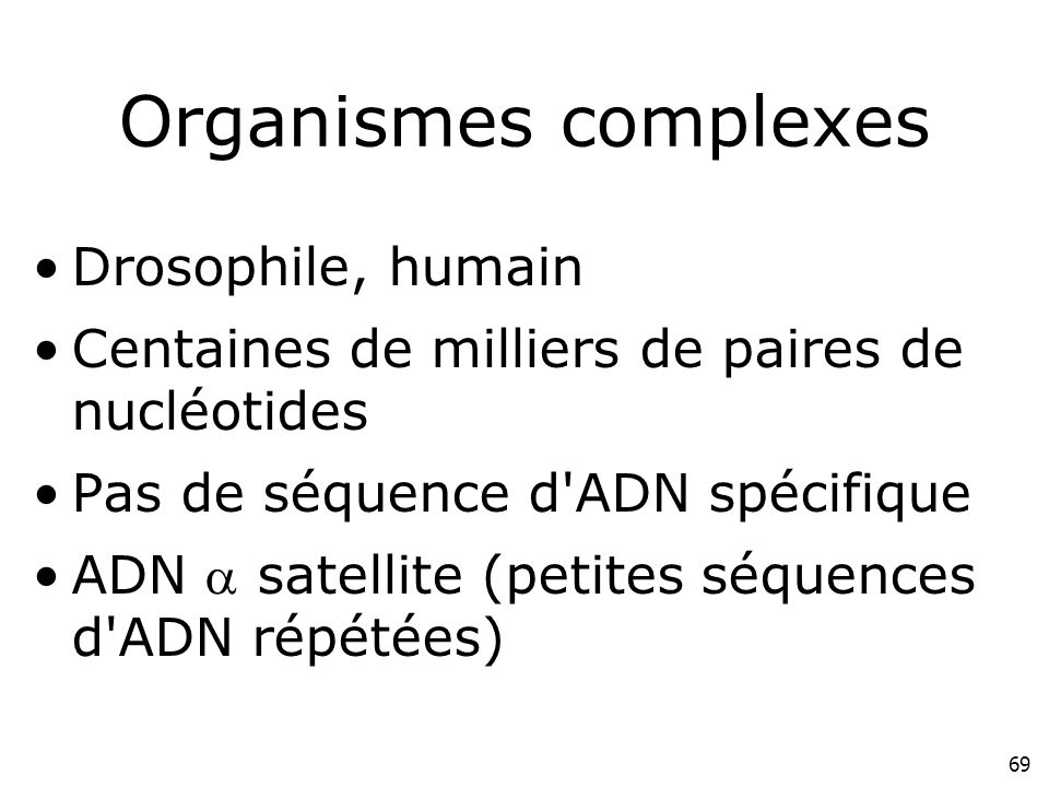 69 Organismes complexes Drosophile, humain Centaines de milliers de paires de nucléotides Pas de séquence d'ADN spécifique ADN satellite (petites séqu