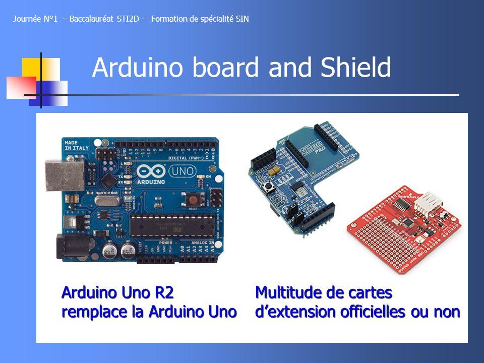 Arduino board and Shield Journée N°1 – Baccalauréat STI2D – Formation de spécialité SIN Arduino Uno R2 remplace la Arduino Uno Multitude de cartes dex