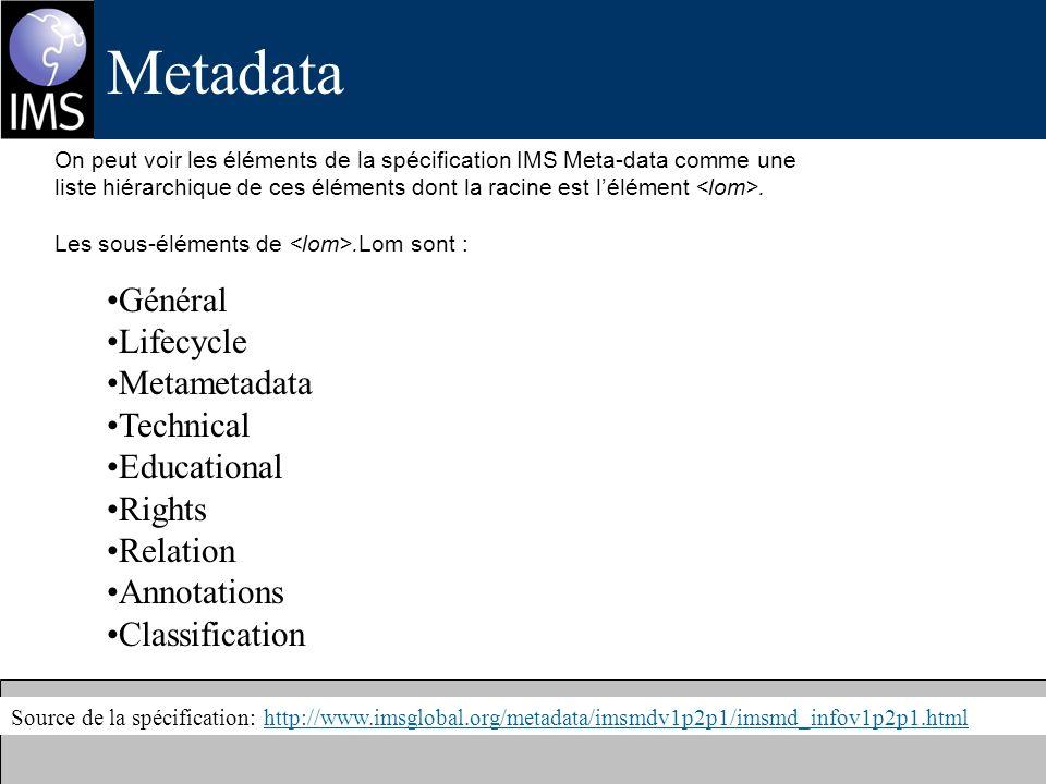 Metadata Source de la spécification: http://www.imsglobal.org/metadata/imsmdv1p2p1/imsmd_infov1p2p1.htmlhttp://www.imsglobal.org/metadata/imsmdv1p2p1/