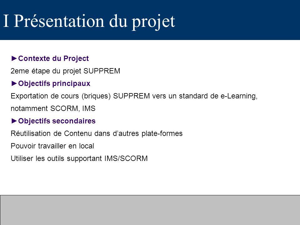 I Présentation du projet Contexte du Project 2eme étape du projet SUPPREM Objectifs principaux Exportation de cours (briques) SUPPREM vers un standard