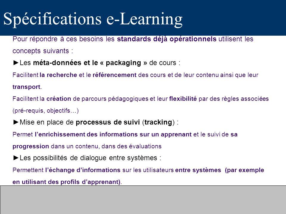 Spécifications e-Learning Pour répondre à ces besoins les standards déjà opérationnels utilisent les concepts suivants : Les méta-données et le « pack
