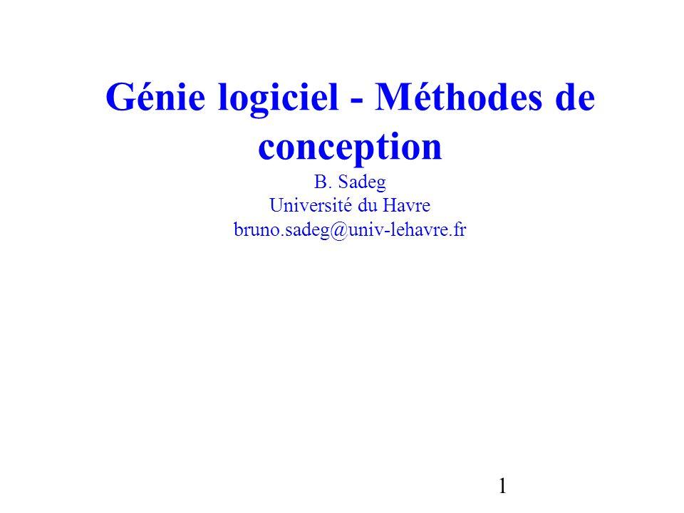1 Génie logiciel - Méthodes de conception B. Sadeg Université du Havre bruno.sadeg@univ-lehavre.fr