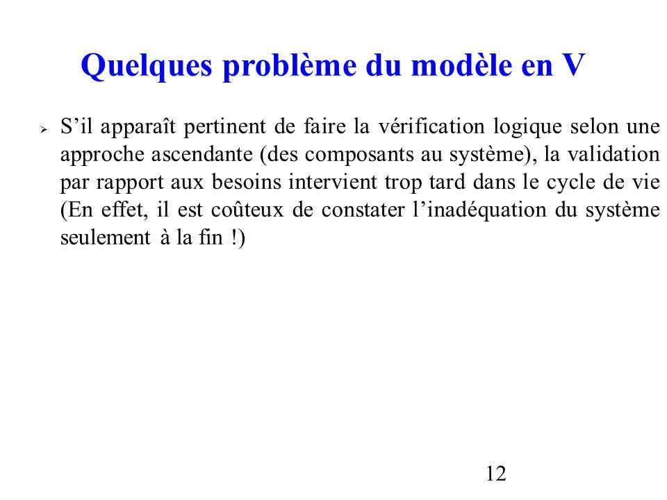 12 Quelques problème du modèle en V Sil apparaît pertinent de faire la vérification logique selon une approche ascendante (des composants au système),