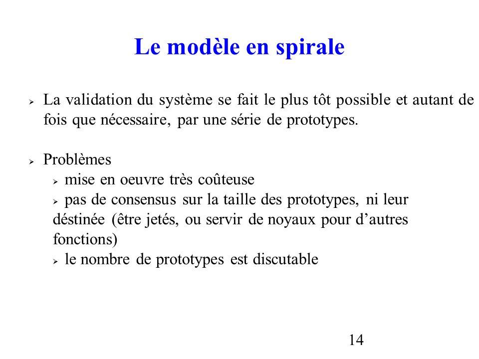 14 Le modèle en spirale La validation du système se fait le plus tôt possible et autant de fois que nécessaire, par une série de prototypes. Problèmes