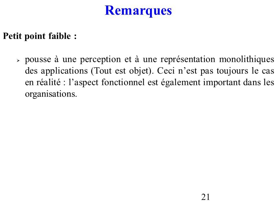 21 Remarques Petit point faible : pousse à une perception et à une représentation monolithiques des applications (Tout est objet). Ceci nest pas toujo
