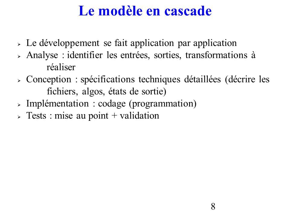 8 Le modèle en cascade Le développement se fait application par application Analyse : identifier les entrées, sorties, transformations à réaliser Conc