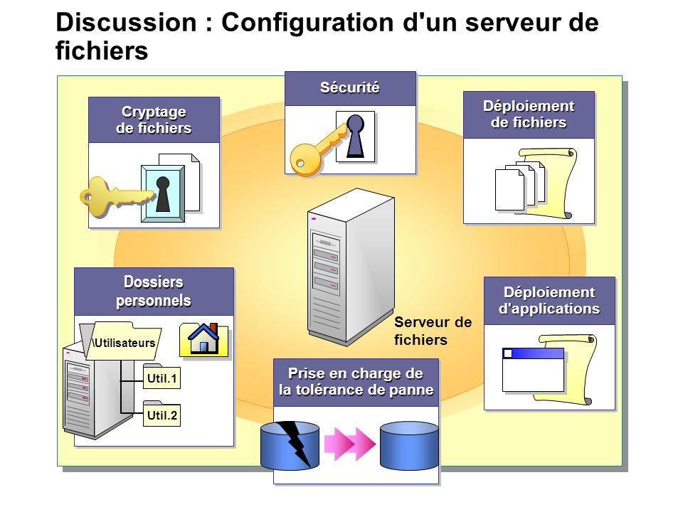 Discussion : Configuration d'un serveur de fichiers Serveur de fichiers Prise en charge de la tolérance de panne Prise en charge de la tolérance de pa