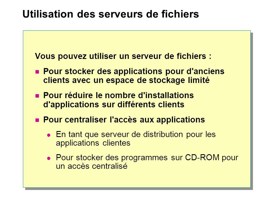 Utilisation des serveurs de fichiers Vous pouvez utiliser un serveur de fichiers : Pour stocker des applications pour d'anciens clients avec un espace