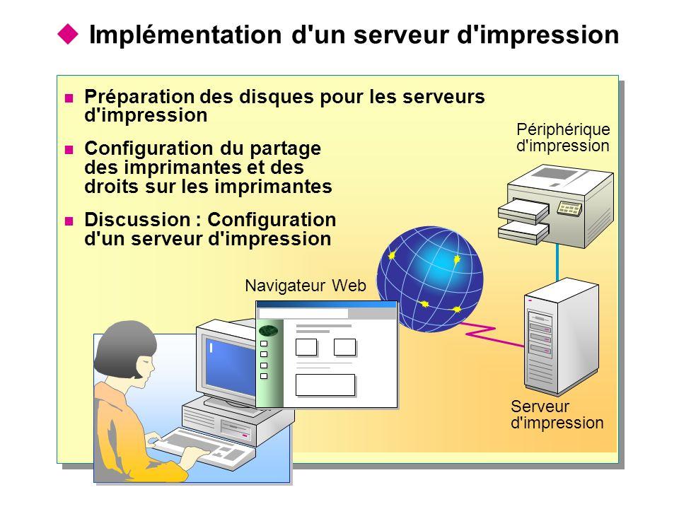 Navigateur Web Serveur d'impression Implémentation d'un serveur d'impression Périphérique d'impression Préparation des disques pour les serveurs d'imp