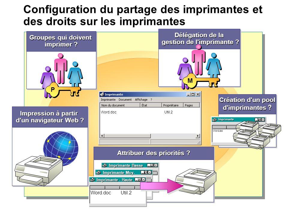 Configuration du partage des imprimantes et des droits sur les imprimantes Création d'un pool d'imprimantes ? Création d'un pool d'imprimantes ? Impri