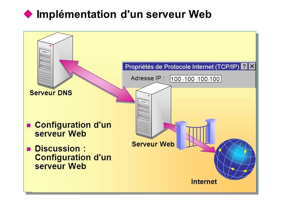Implémentation d'un serveur Web Serveur Web Serveur DNS Internet ? X Configuration d'un serveur Web Discussion : Configuration d'un serveur Web Propri