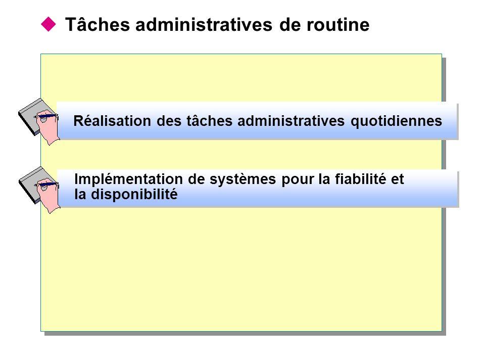 Tâches administratives de routine Réalisation des tâches administratives quotidiennes Implémentation de systèmes pour la fiabilité et la disponibilité Implémentation de systèmes pour la fiabilité et la disponibilité