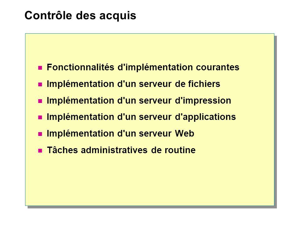 Contrôle des acquis Fonctionnalités d'implémentation courantes Implémentation d'un serveur de fichiers Implémentation d'un serveur d'impression Implém