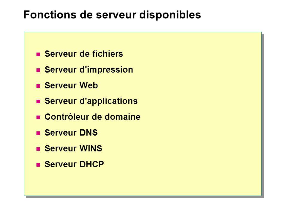 Fonctions de serveur disponibles Serveur de fichiers Serveur d'impression Serveur Web Serveur d'applications Contrôleur de domaine Serveur DNS Serveur