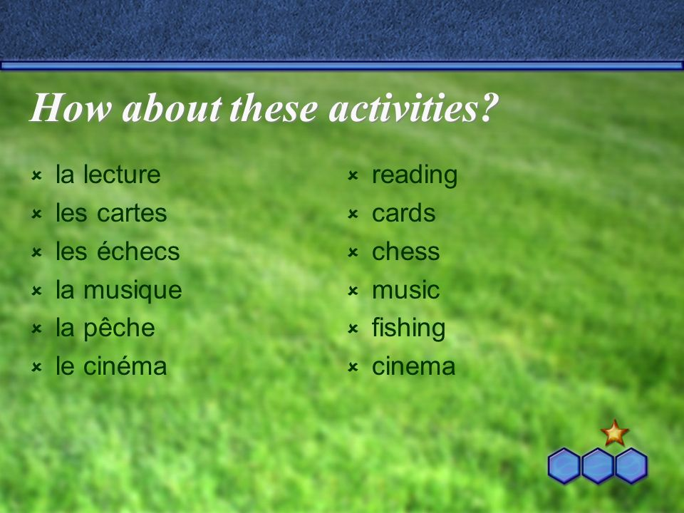How about these activities.