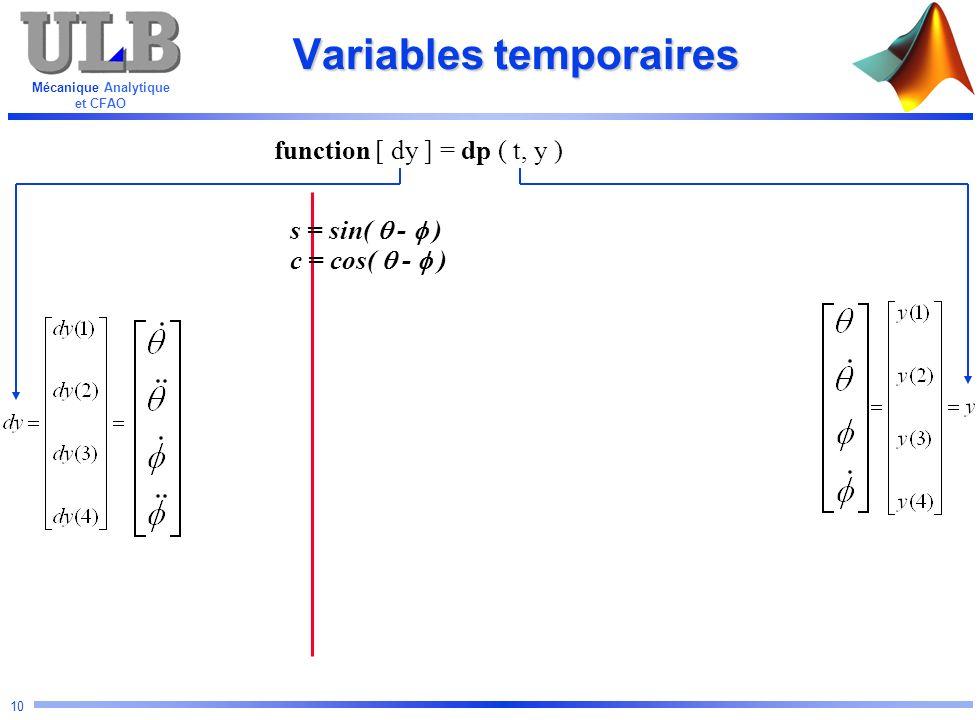 Mécanique Analytique et CFAO 10 Variables temporaires function [ dy ] = dp ( t, y ) s = sin( - ) c = cos( - )
