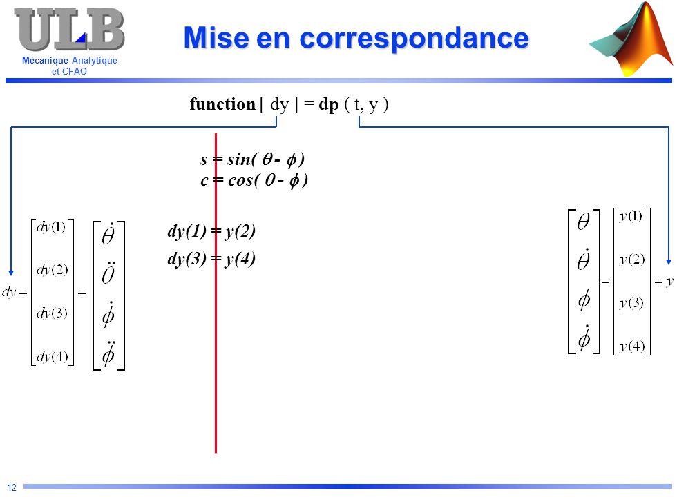 Mécanique Analytique et CFAO 12 Mise en correspondance function [ dy ] = dp ( t, y ) s = sin( - ) c = cos( - ) dy(1) = y(2) dy(3) = y(4)