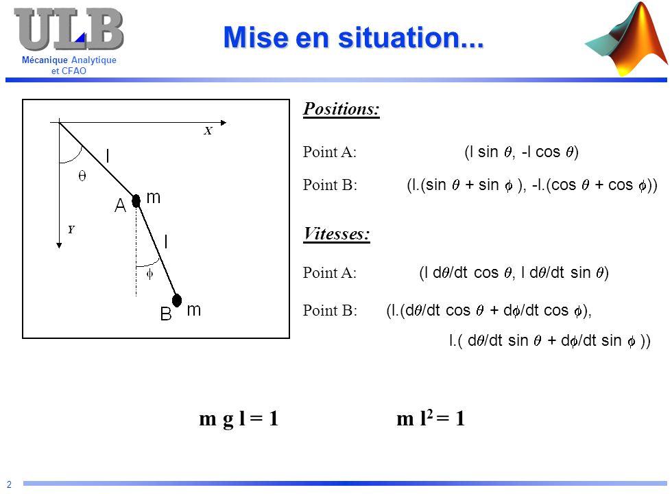 Mécanique Analytique et CFAO 2 Mise en situation... X Y Positions: Vitesses: Point A: (l sin, -l cos ) Point A: (l d /dt cos, l d /dt sin ) Point B: (