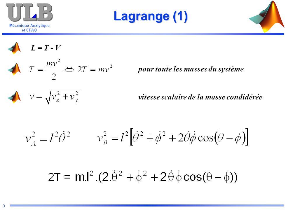 Mécanique Analytique et CFAO 24 Résolution numérique options = odeset( RelTol ,1e-8); [t,angle] = ode45( dp ,[0:0.1:100],[1 1 10 0],options); Conditions initiales: Système à résoudre Temps: de 0 à 100 secondes par pas de 0,1 sec