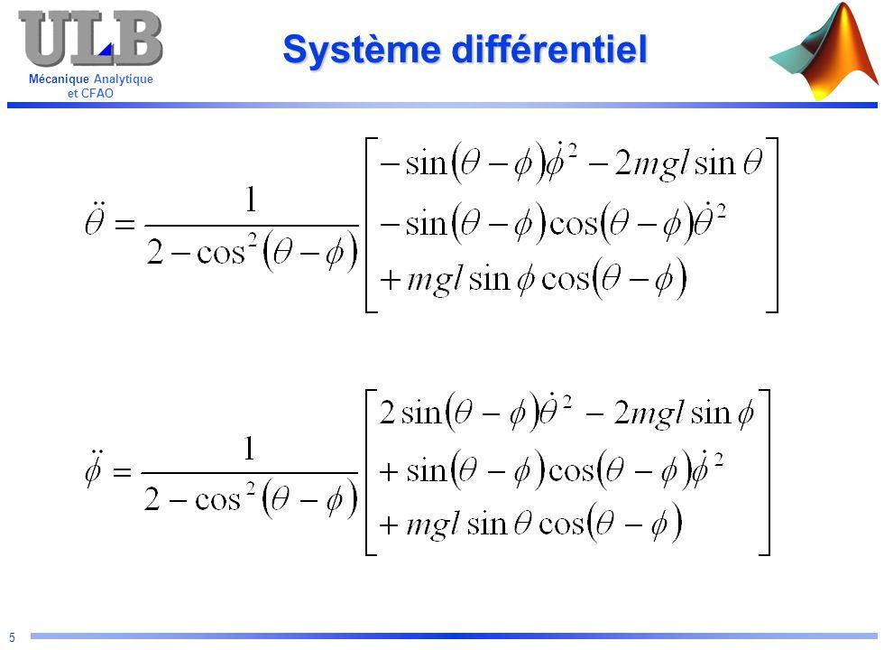 Mécanique Analytique et CFAO 16 Search and replace function [ dy ] = dp ( t, y ) s = sin( - ) c = cos( - ) dy(1) = y(2) dy(3) = y(4) dy(2) =