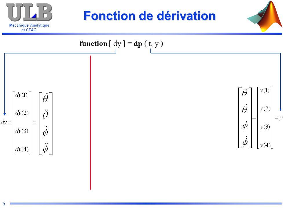 Mécanique Analytique et CFAO 40 Instruction graphique Objet graphique Adresse YData Color ZData XData Instruction Style graph1=plot(x,y, w* , EraseMode , none ); = 1.05684523 = graph1 = x = y = w = * EraseMode = none = plot