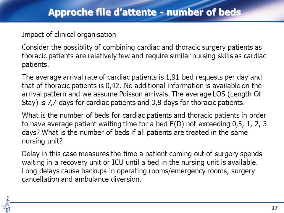 27 Impact of clinical organisation Consider the possiblity of combining cardiac and thoracic surgery patients as thoracic patients are relatively few