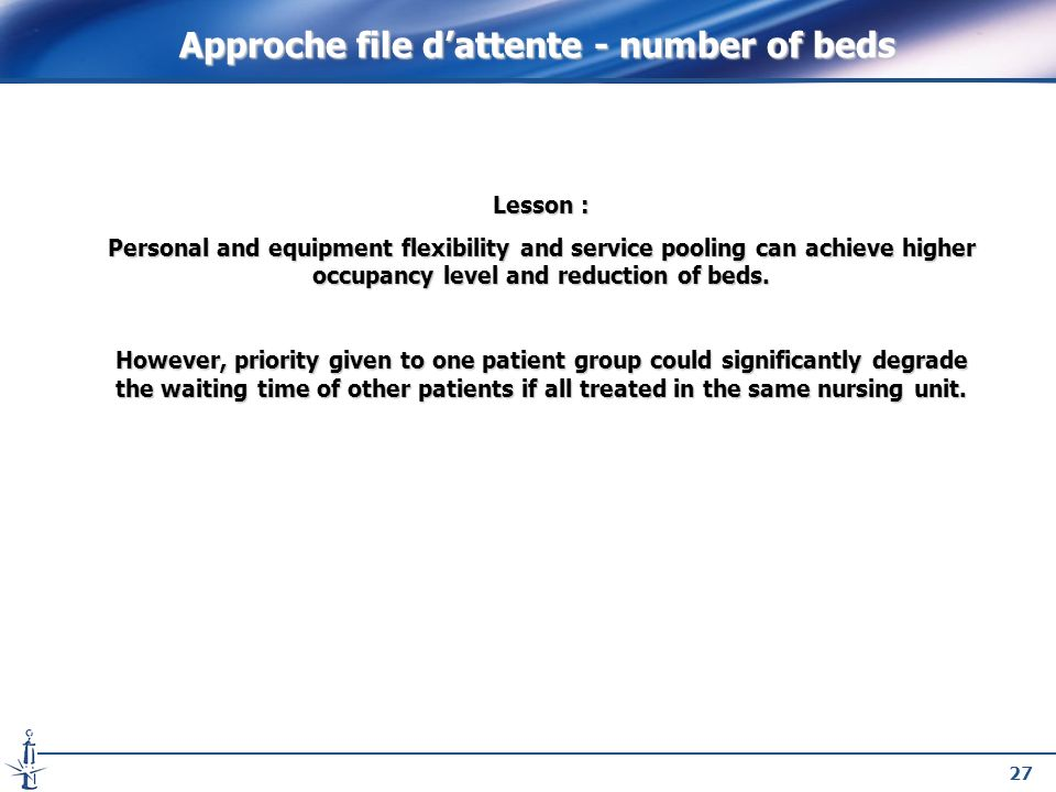 27 Lesson : Personal and equipment flexibility and service pooling can achieve higher occupancy level and reduction of beds. However, priority given t