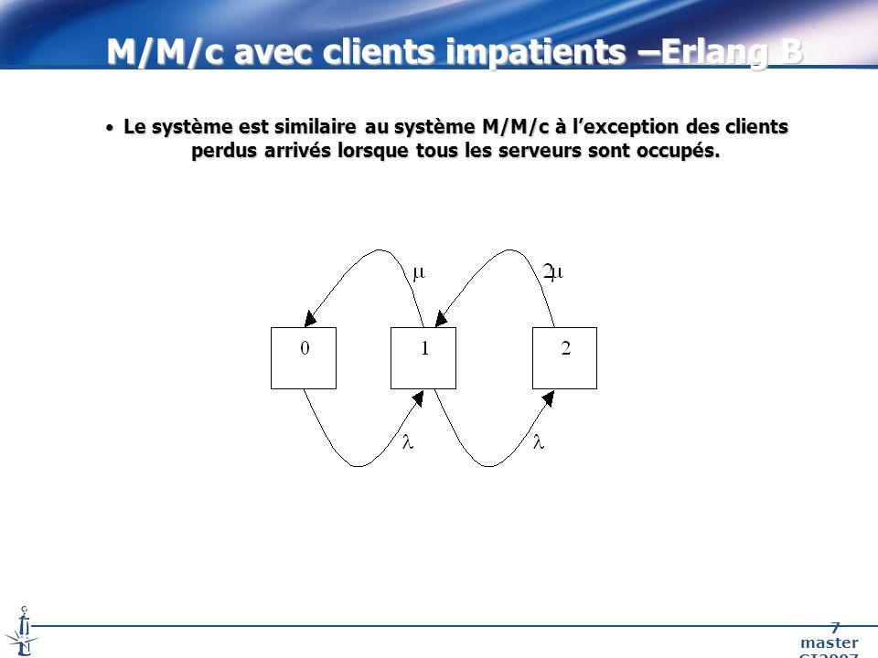 master GI2007 7 M/M/c avec clients impatients –Erlang B Le système est similaire au système M/M/c à lexception des clients perdus arrivés lorsque tous les serveurs sont occupés.Le système est similaire au système M/M/c à lexception des clients perdus arrivés lorsque tous les serveurs sont occupés.