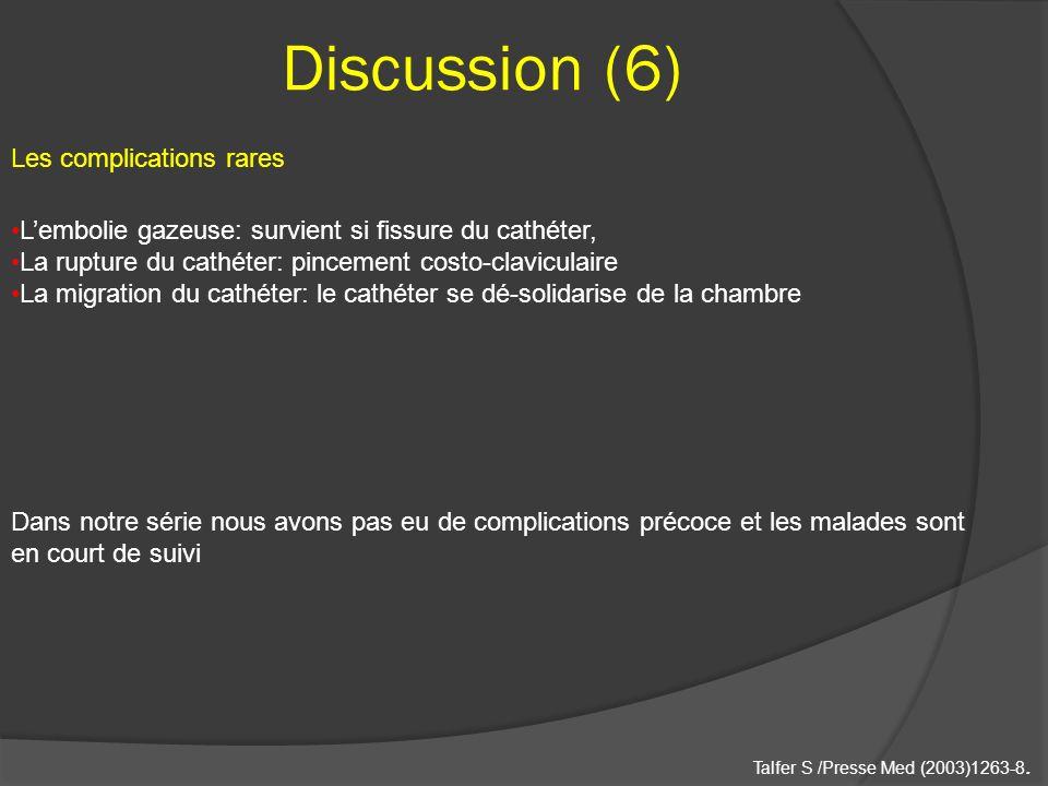 Discussion (6) Lembolie gazeuse: survient si fissure du cathéter, La rupture du cathéter: pincement costo-claviculaire La migration du cathéter: le ca