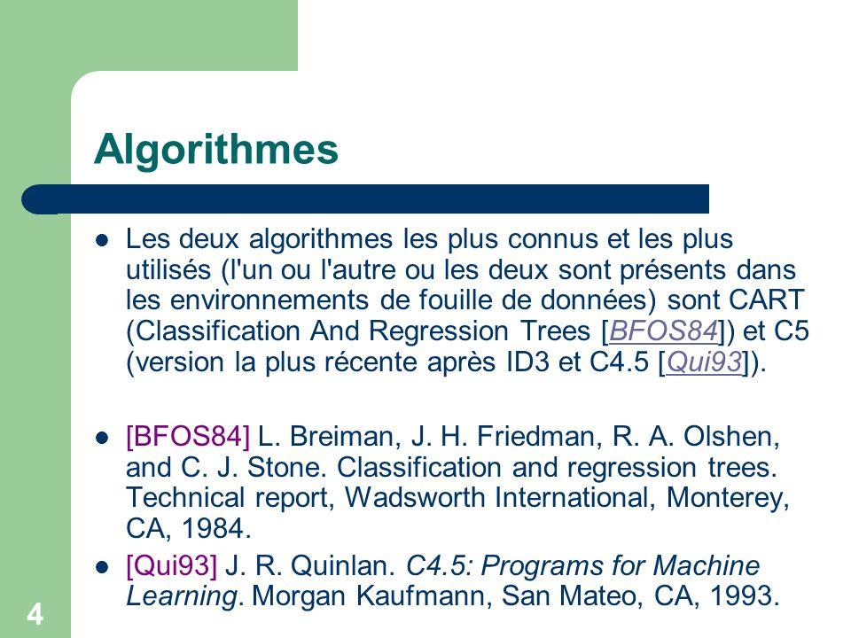 4 Algorithmes Les deux algorithmes les plus connus et les plus utilisés (l un ou l autre ou les deux sont présents dans les environnements de fouille de données) sont CART (Classification And Regression Trees [BFOS84]) et C5 (version la plus récente après ID3 et C4.5 [Qui93]).BFOS84Qui93 [BFOS84] L.