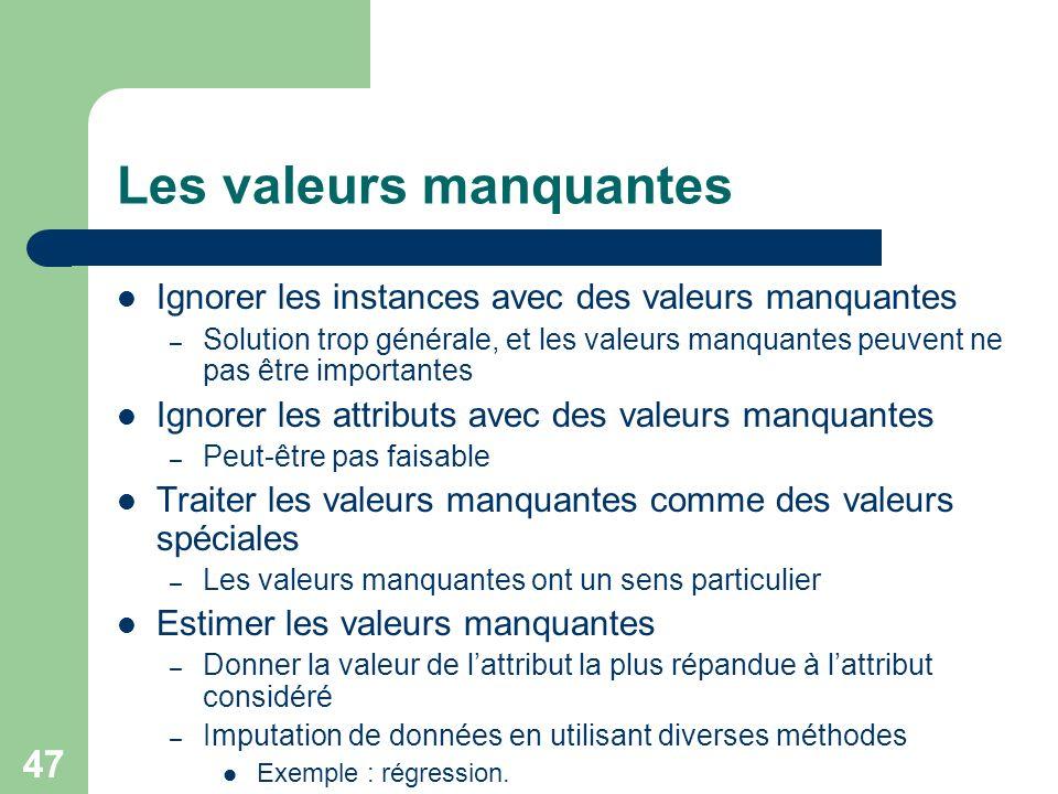 47 Les valeurs manquantes Ignorer les instances avec des valeurs manquantes – Solution trop générale, et les valeurs manquantes peuvent ne pas être im
