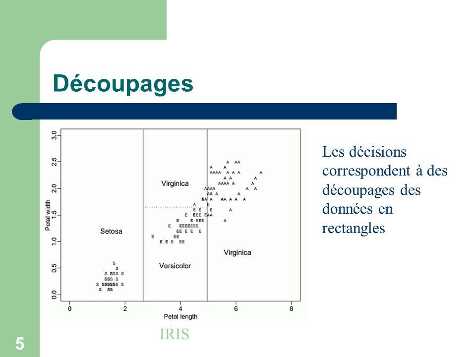 5 Découpages IRIS Les décisions correspondent à des découpages des données en rectangles