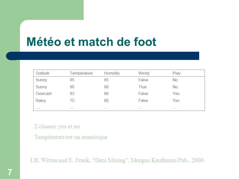 7 2 classes: yes et no Température est un numérique Météo et match de foot I.H. Witten and E. Frank, Data Mining, Morgan Kaufmann Pub., 2000.