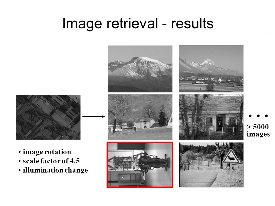 Image retrieval - results … > 5000 images image rotation scale factor of 4.5 illumination change